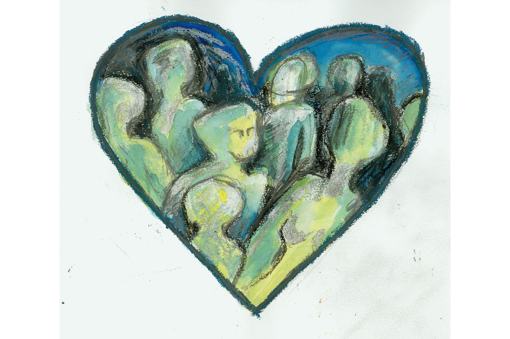 Eine Zeichnung in grünen und blauen Farben, die menschliche Gestalten in einem herzförmigen Umriss zeigt.
