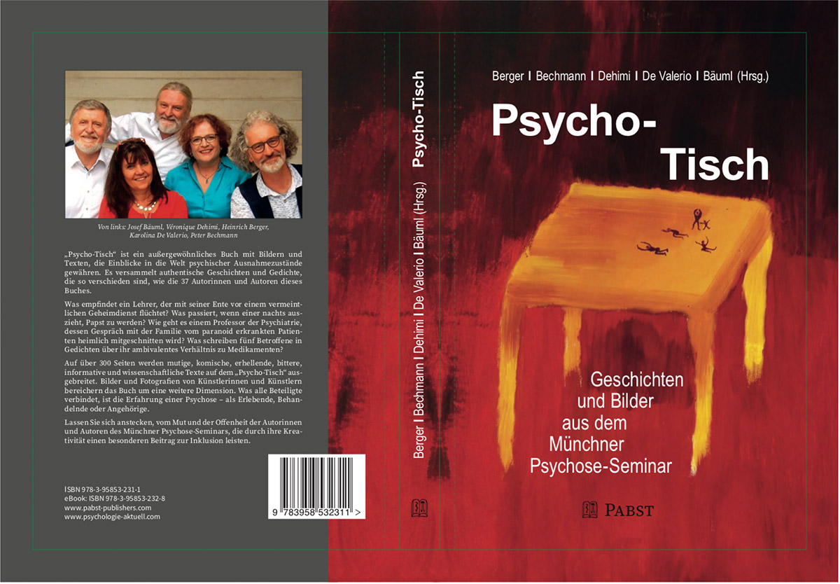 Titelbild mit einem gelborangen Tisch auf rot-schwarzem Grund, daneben ein graue Fläche mit einem Gruppenfoto mit den fünf Herausgebern des Buches